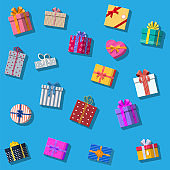 Set of gift boxes isolated on white.