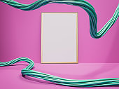 Blank white canvas and wire in pink interior. 3d rendering