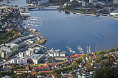 Aerial view of Bergen town and bay