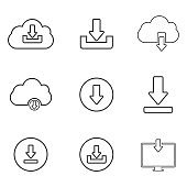 Download or save sign icon set with cloud. flat style