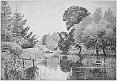 Antique photo of paintings: Cookham Mill