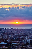 Barcelona sunrise with amazing color in the sky