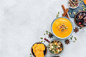 Bowl with fresh homemade carrot pumpkin soup and spices.