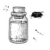 Essential oil glass bottle hand drawn vector illustration. Isolated drawing for Aromatherapy treatment,