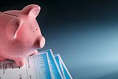Piggy Bank Sitting On Top Of 401K Statement