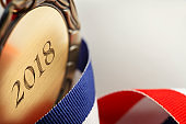 Close Up Of Medal Engraved With '2018'