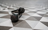 Microphones at a karaoke bar