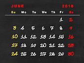 2018 calendar June