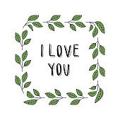 Green leaves wreath. Vector isolated. Hand drawn frame.