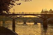 Sunrise over the Pont des Arts, Pont Neuf and the Seine River banks. Paris, France