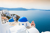 Church with blue domes on Santorini island, Greece