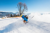 Rearview shot of a skier riding down the slope at ski resort in the Carpathians mountains copyspace seasonal activity sport sportsman hobby recreation travel concept