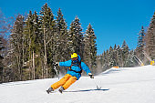 Freeride skier skiing in the mountains at the winter resort. Blue sky and winter forest on the background. Copyspace extreme travelling recreation resort people adventure living concept