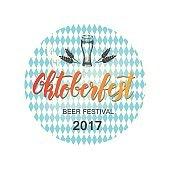 Vector illustration of Oktoberfest symbol type. Hand made lettering.