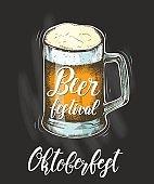 Beer in glass mug. Hand drawn Glass of beer. Hand made trendy lettering -'Beer festival. Oktoberfest'.