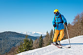 Shot of a professional skier in colorful gear skiing on fresh powder snow in the mountains on the winter resort. Blue sky and winter forest on the background
