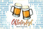 Oktoberfest celebration design on textured background. Lettering. Engraving illustration.