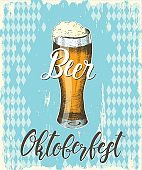 Vector illustration of Oktoberfest Poster with hand drawn beer on blue textured background.