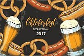 Oktoberfest celebration background with hand drawn beer, pretzel, sausage and hod dog.