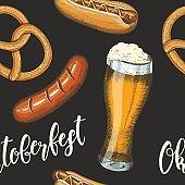 Oktoberfest celebration pattern with beer, pretzel, sausage and hod dog in sketch style.
