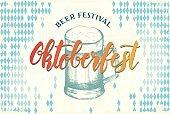Oktoberfest poster. Oktoberfest celebration design on textured background.