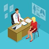 Isometric doctor showing something patient on tablet pc in hospital. Male doctor talking with female patient in doctors office. Healthcare, medical and technology.