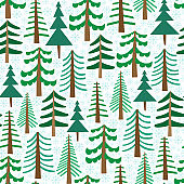 Vector seamless pattern with Christmas trees on white background