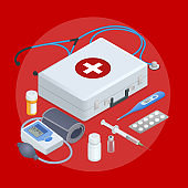 Flat concept of Mobile health online medical support distant monitoring flat set isolated illustration. Healthcare system concept. Medicine.