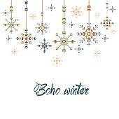 Christmas greeting card in ethnic style.Geometric snowflakes on white background.Holiday tribal design.