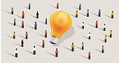 crowdfunding crowd-sourcing big ides bulb community of people together standing together