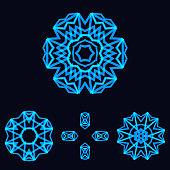 set of snowflake floral icon