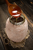 Unique Abkhaz honey with pollen and royal jelly in a clay pot