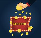 Big win jackpot concept. Casino jackpot. Lucky, success, financial growth