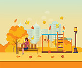 Autumn kids playground, girl resting in park, drinks coffee