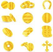 Gold coins and gold items: cufflinks, jewelry, religious accessories