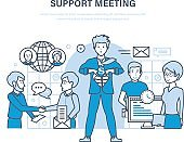 Support meeting. Communications, partnership, teamwork, collaboration office workers, cooperation