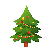 Christmas tree with decorated tree, gift boxes, decoration balls, lamps