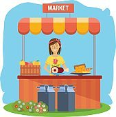 Pure natural food, agriculture, farming, shopping. Cashier sells eco products