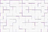 Purple modern geometric maze design on white paper.