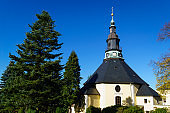 Church in Seiffen Ore Mountains in Saxony Germany at daylight in autumn