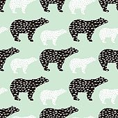 Seamless pattern with polar bear silhouette. Perfect for fabric,textile.Vector background