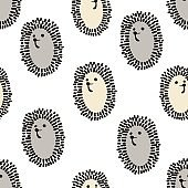 Seamless pattern with cute hedgehog in scandinavian style. Creative vector childish background for fabric, textile