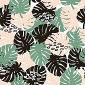 Palm branch trendy seamless pattern with hand drawn elements. Monstera leaf background. Great for fabric, textile Vector Illustration