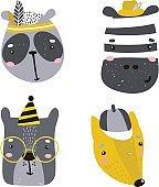 Set of four cute animal faces. Creative animal print zebra, dog,bear,panda, for nursery,apparel,cards. Vector Illustration