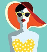 Beautiful young woman with sunglasses. retro style.
