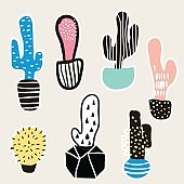 Cactus creative set . Clip art with hand drawn modern cactusin pots.Ready design for stickers, prints. Vector Illustration