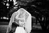 Wedding couple posing under bridal veil outdoor. Black and white photo.