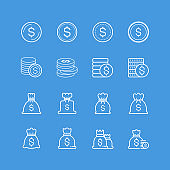 Money bag and coin icons