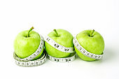 green apple with Measuring tape on white background in concept of healthy and diet