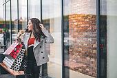 Fashionable beautiful woman shopping. Woman walks on the Shopping Center with shopping bags